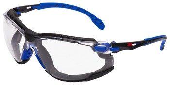 3M SOLUS - Kék, fekete víztiszta védőszemüveg pánttal és kivehető szivaccsal