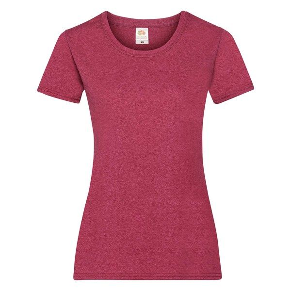 Fruit of the Loom Lady-Fit Valueweight T - 100% pamut póló vintage heather red - 165g/m2 vastag